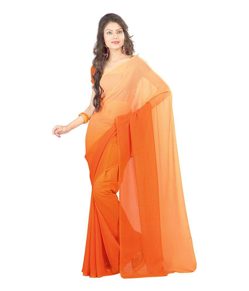 Sanskar Fashion Orange Faux Chiffon Saree