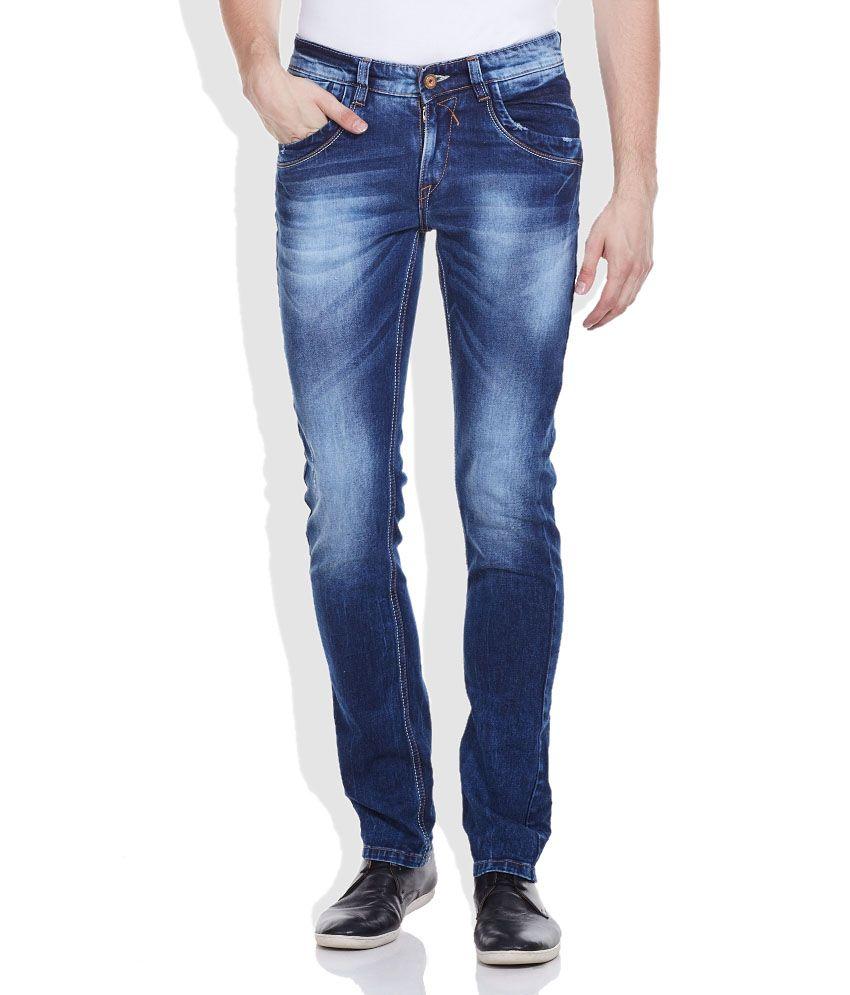 Spykar Blue Skinny Fit Cotton Jeans
