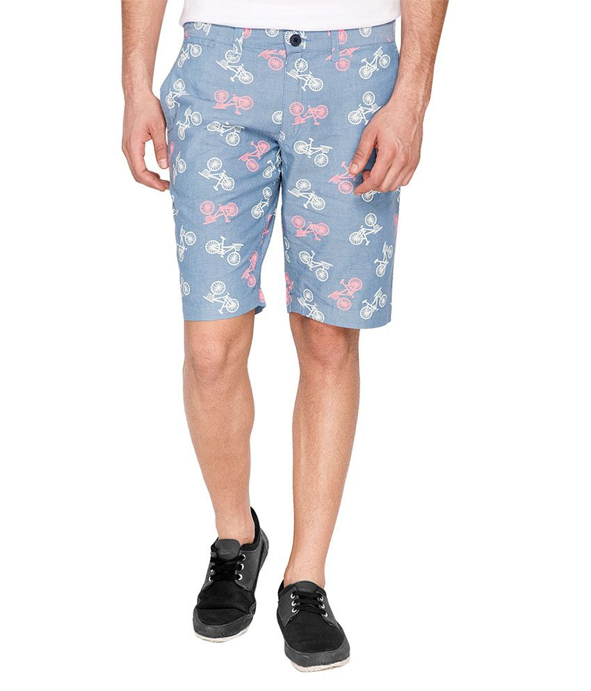 The Indian Garage Co. Blue Cotton Shorts