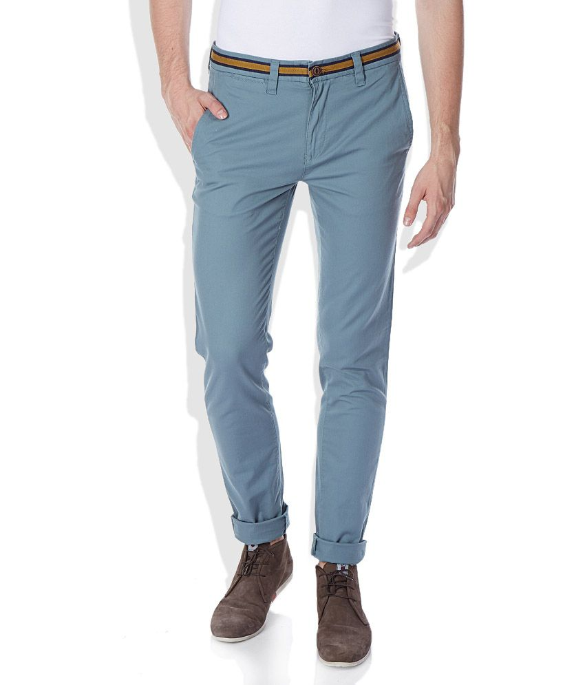 United Colors of Benetton Blue Regular Fit Casual Trousers
