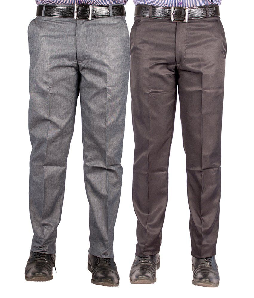 American-Elm Multicolour Cotton Blend Slim Formal Trouser - Combo Of 2