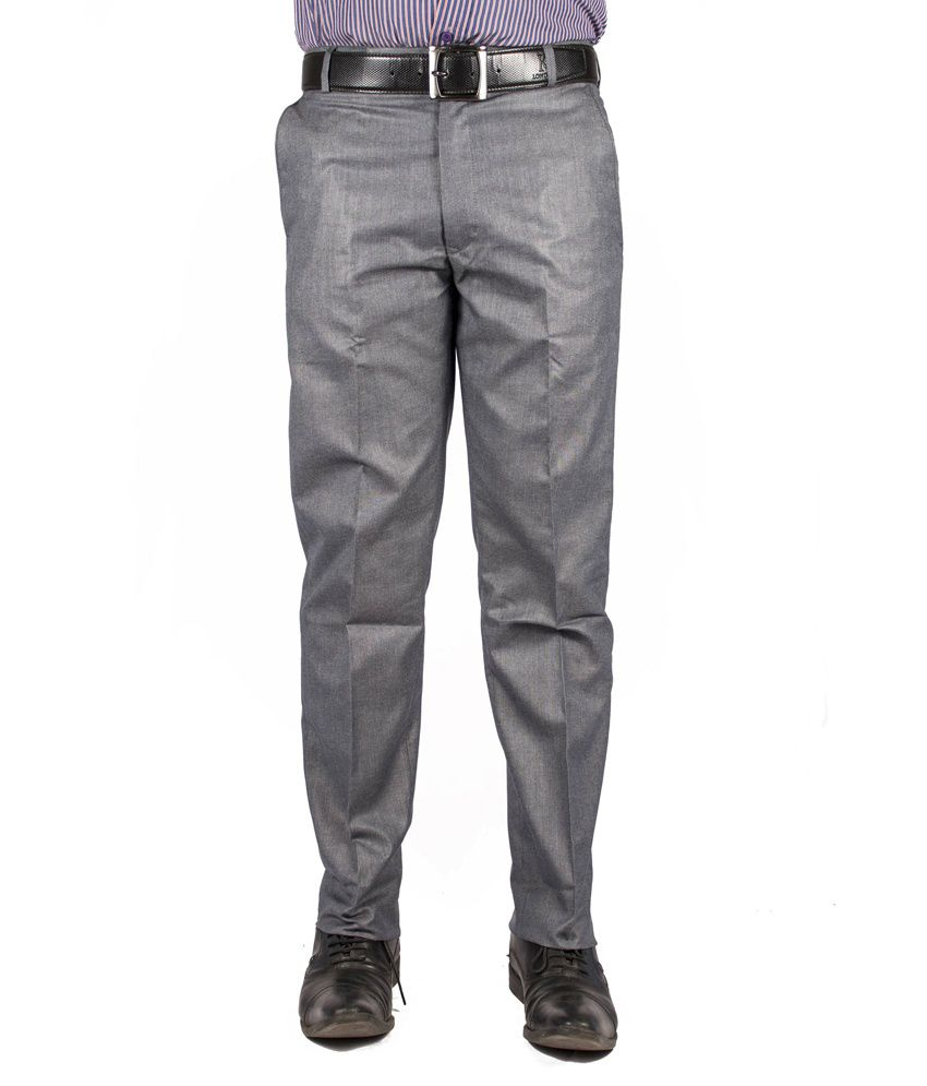 Americanelm Gray Cotton Blend Slim Formal Trouser