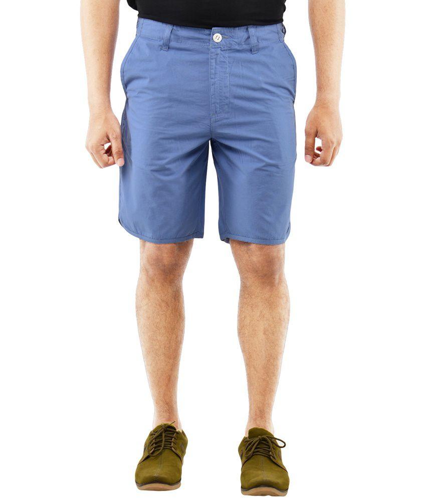 Blue Wave - Blue Cotton Solid Men's Casual Shorts