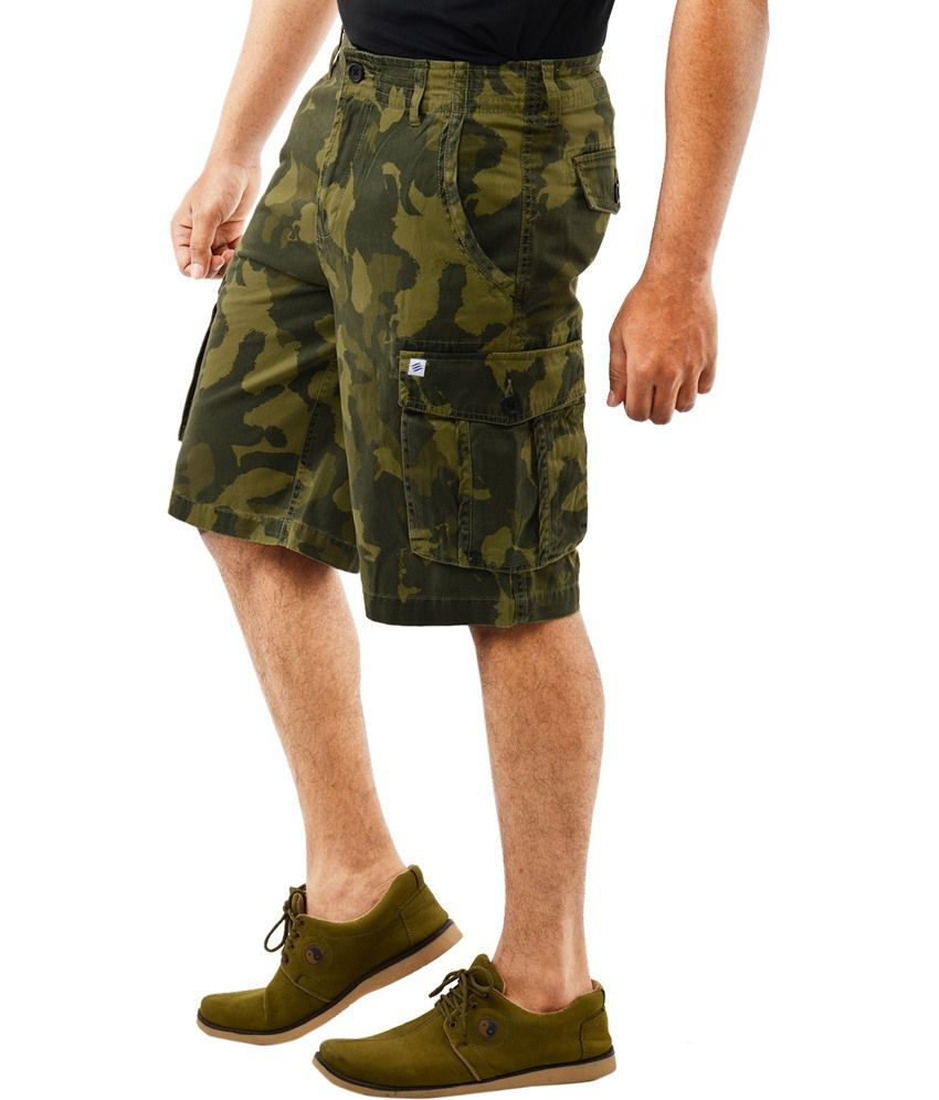 Blue Wave - Green Camo Printed Men's Cargo Shorts - Buy Blue Wave ...