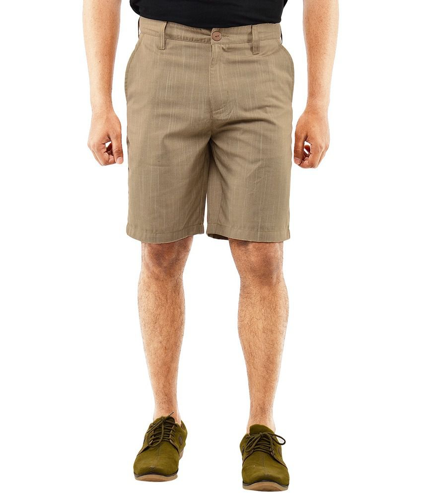Blue Wave Khaki Poly Viscose Shorts