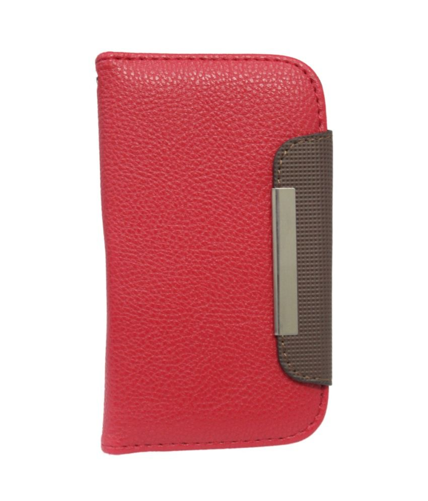 Jo Jo Z Series Magnetic High Quality Universal Phone Flip Case Cover For Lg Nitro Hd Red Dark Brown