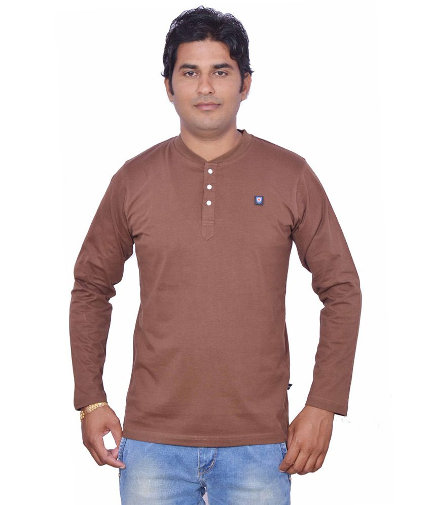 Leaf Multicolour Cotton Full Sleeves Henley Neck T-Shirt