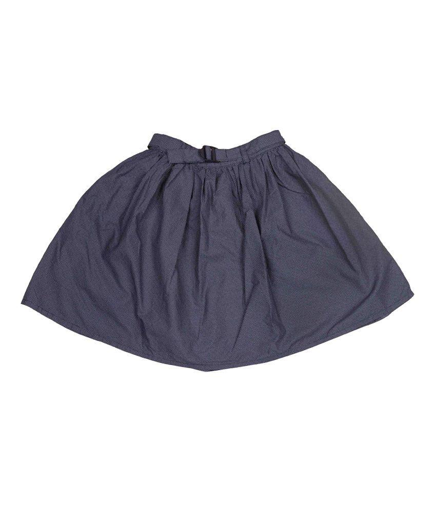 Miss Alibi Navy Woven Skirt