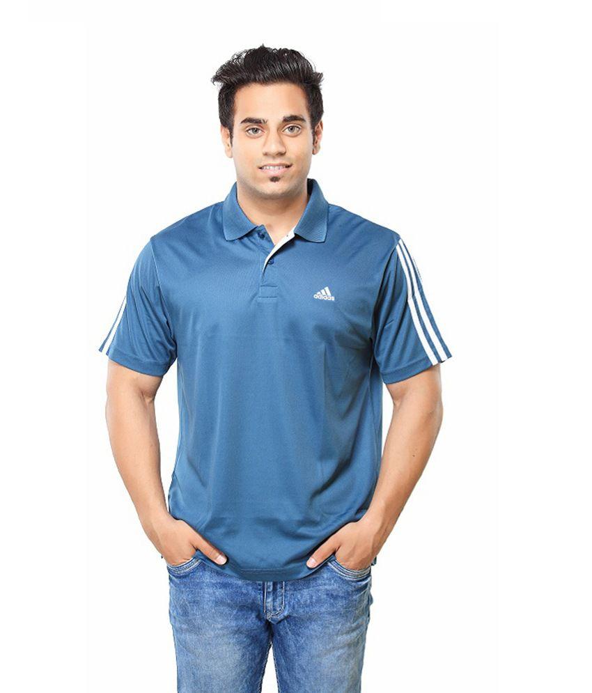 Adidas Blue Cotton Half Sleeved Polo T-Shirt