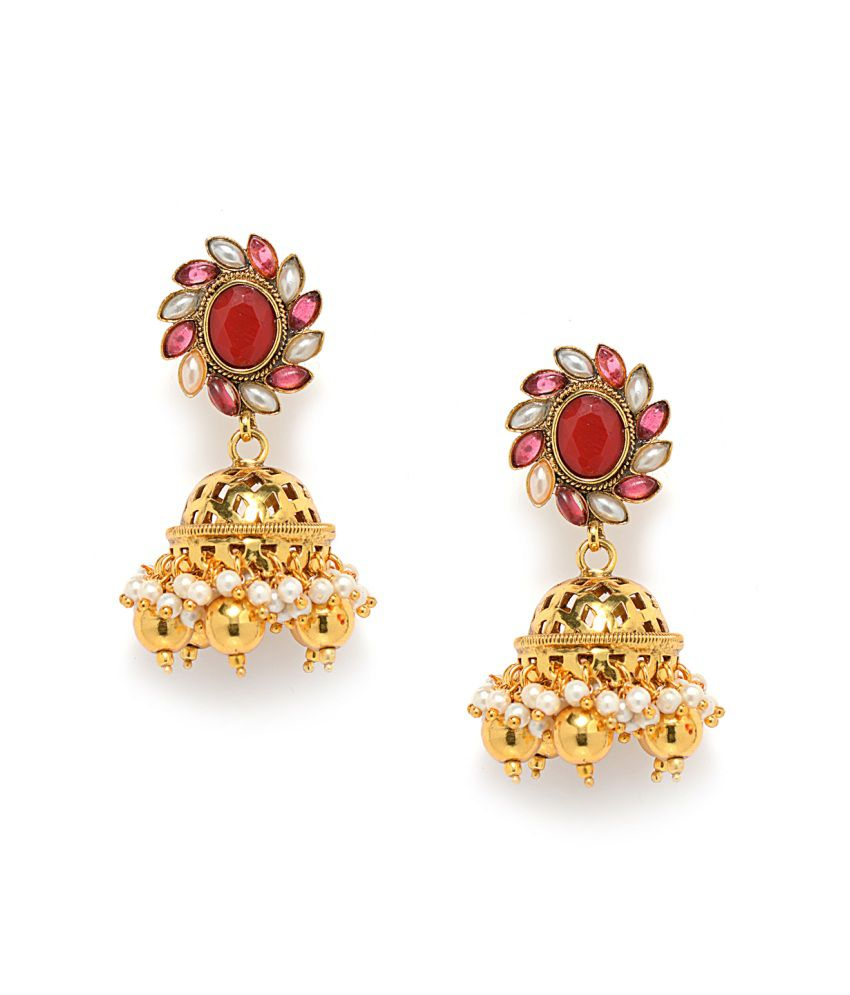 Alankruthi Golden Brass And Copper Etc Push Back Gold Plated Studs