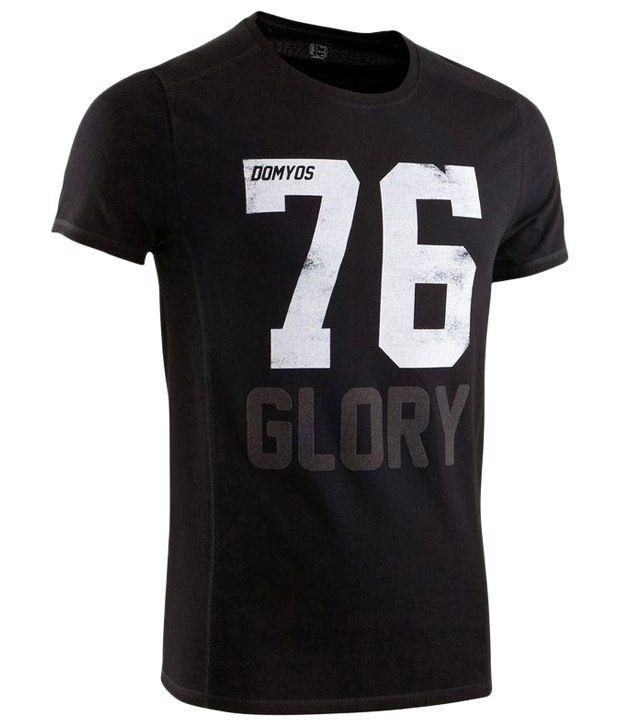 Domyos Black & White Printed Fitness T Shirt