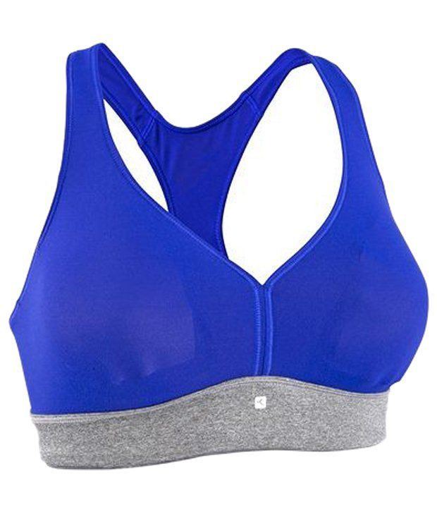 Domyos Blue & Gray Progress Fitness Crop Top Bra
