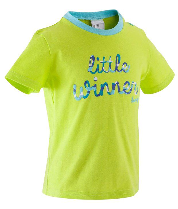 Domyos Green & Blue Half Sleeves Fitness T Shirt For Boys