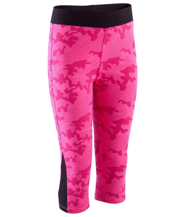 Domyos Pink & Black Athletic Fitness Cropped Leggings
