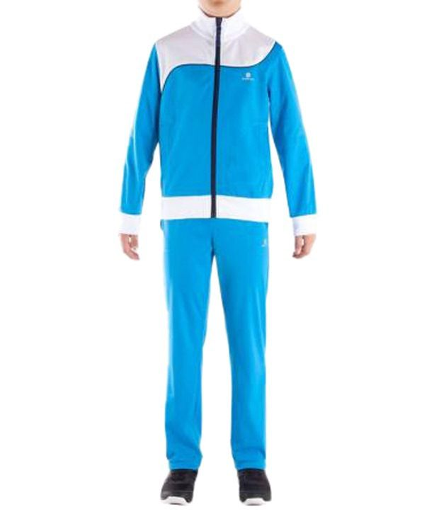 Domyos White & Blue Fitness Tracksuit For Boys