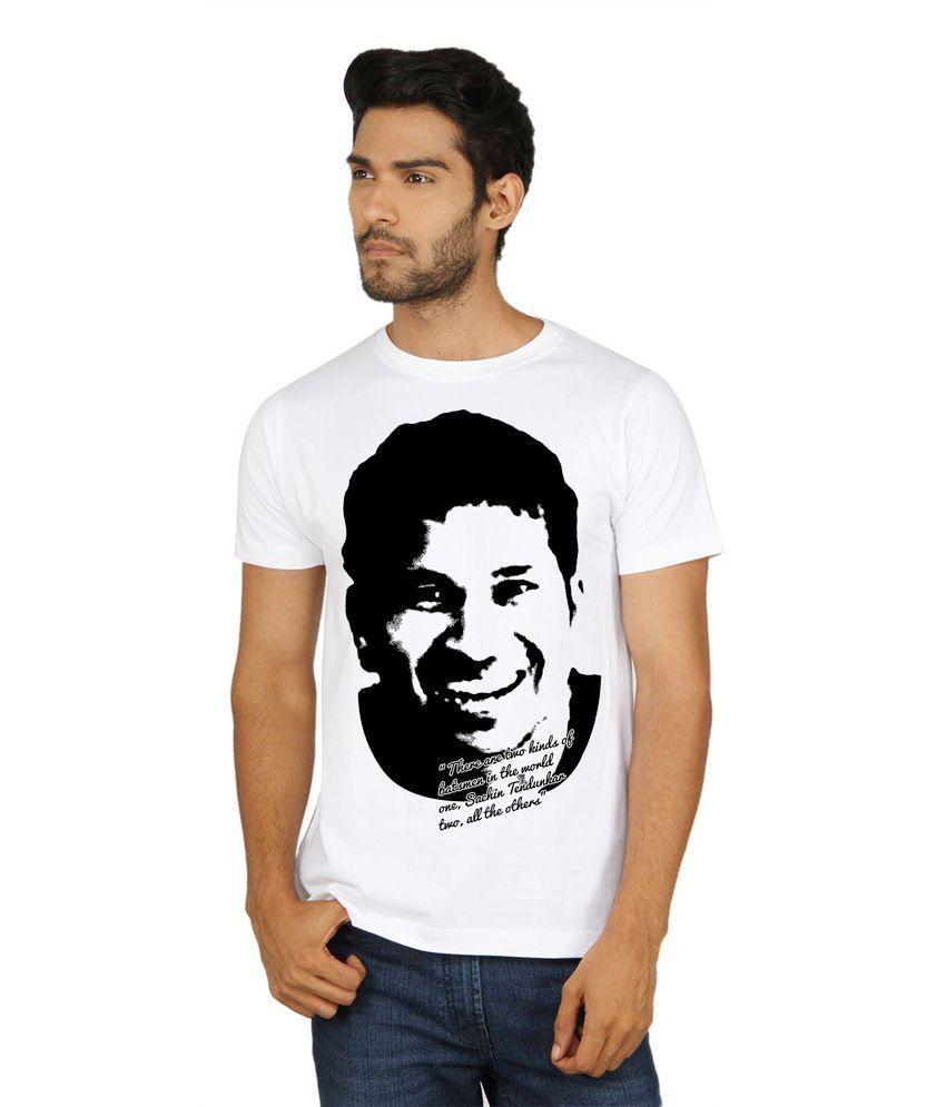Sayitloud White Cotton Round Neck Printed Half Sleeves T-Shirt