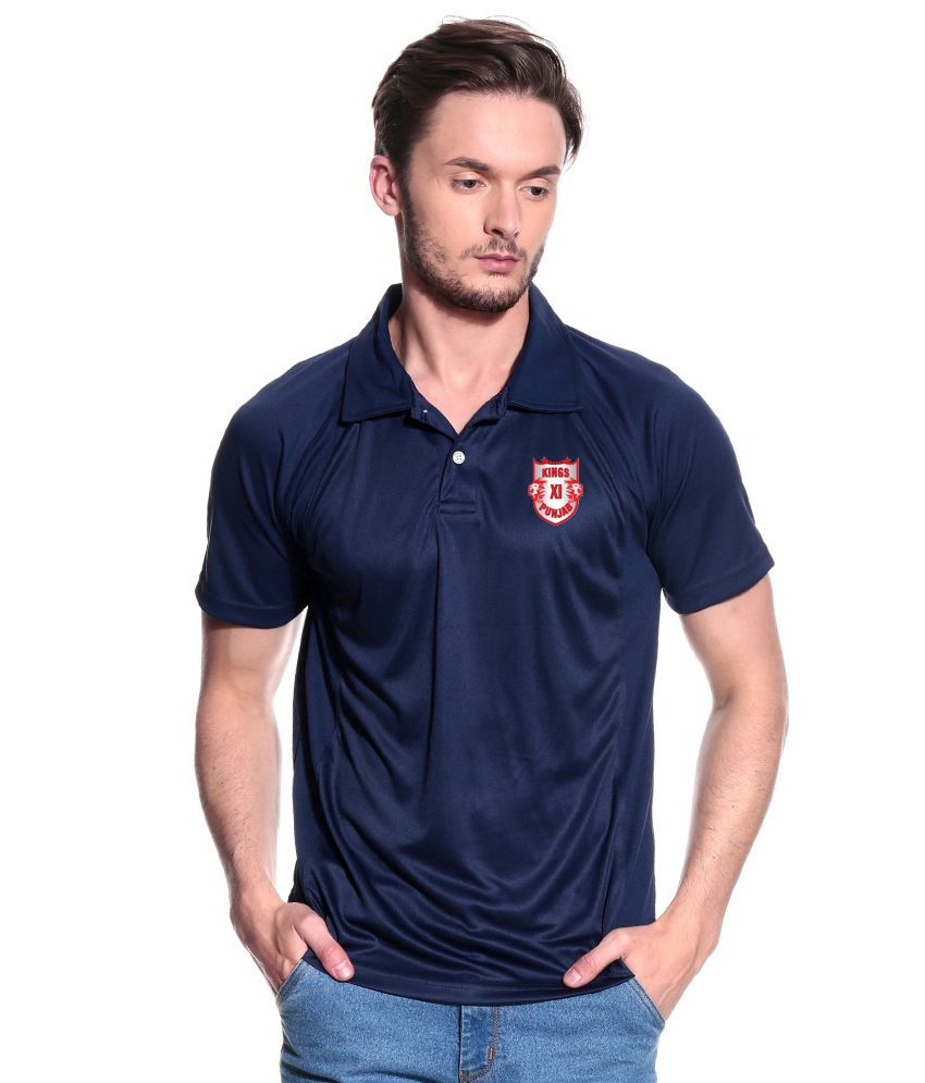 T10 Sports KXIP Navy Polyester Polo T-Shirt