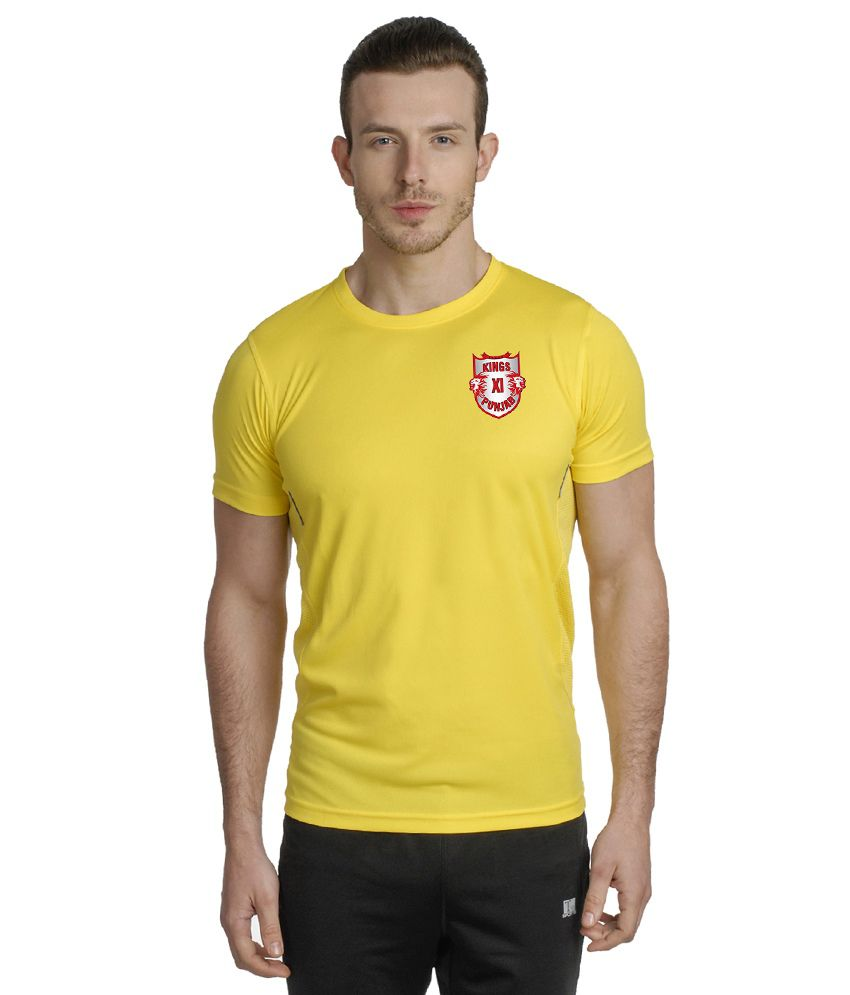 T10 Sports Yellow Microfiber T Shirt