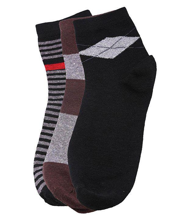 Tossido Men's Black & Brown Cotton Socks - 3 Pair Pack