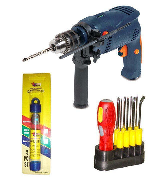 Powermaxx 13mm Hammer Drill, Assorted Drill Bit Set and Screw Driver Set Combo
