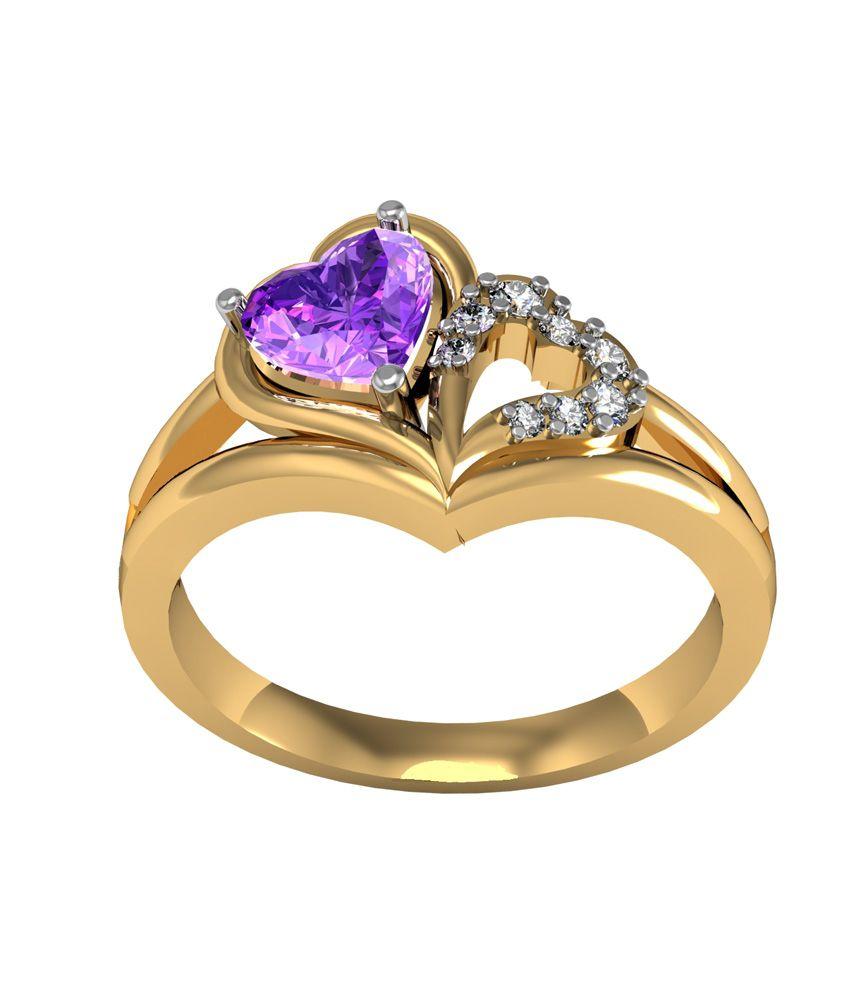 Shruti Yellow Floral German Silver American Diamonds Ring