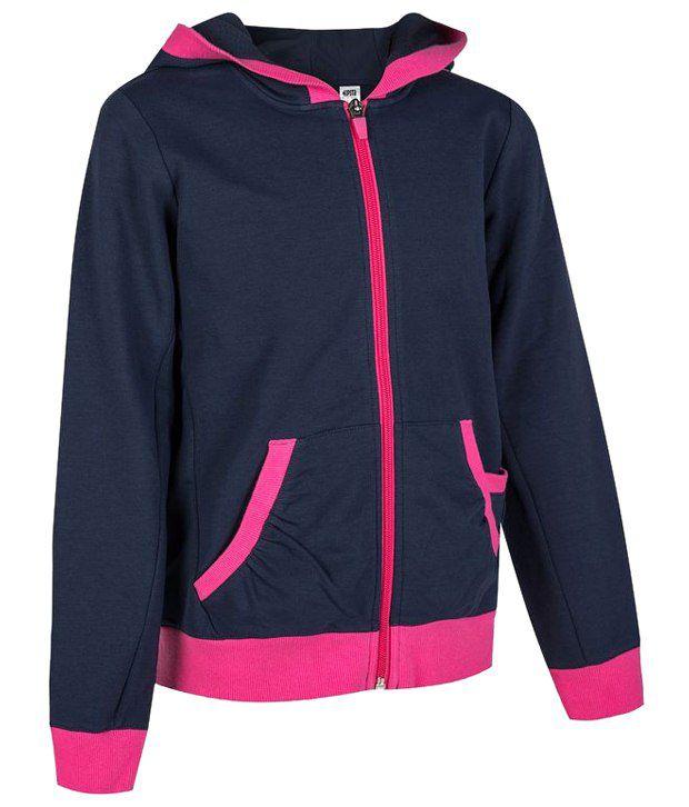 Artengo Navy & Pink Full Sleeve Jacket for Girls