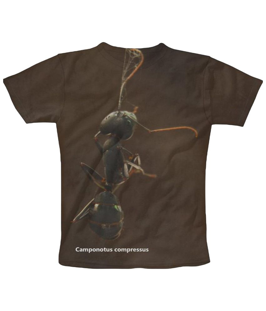 Freecultr Express Ants Graphic Brown & Gray Half Sleeve T Shirt