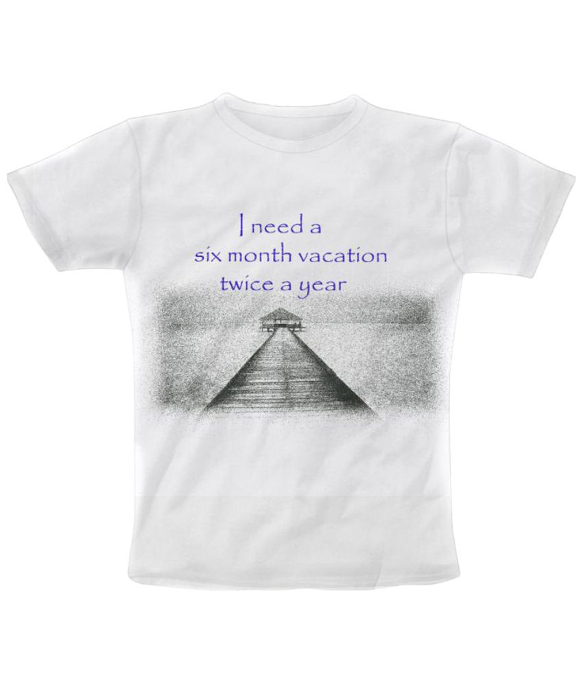 Freecultr Express Long Vacation Graphic White & Gray Half Sleeve T Shirt