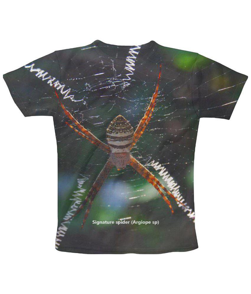 Freecultr Express Signature Spider Graphic Black & Orange Half Sleeve T Shirt