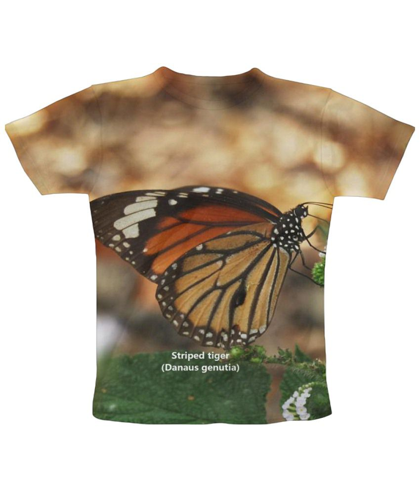 Freecultr Express Striped Tiger Butterfly Graphic Beige & Green Half Sleeve T Shirt