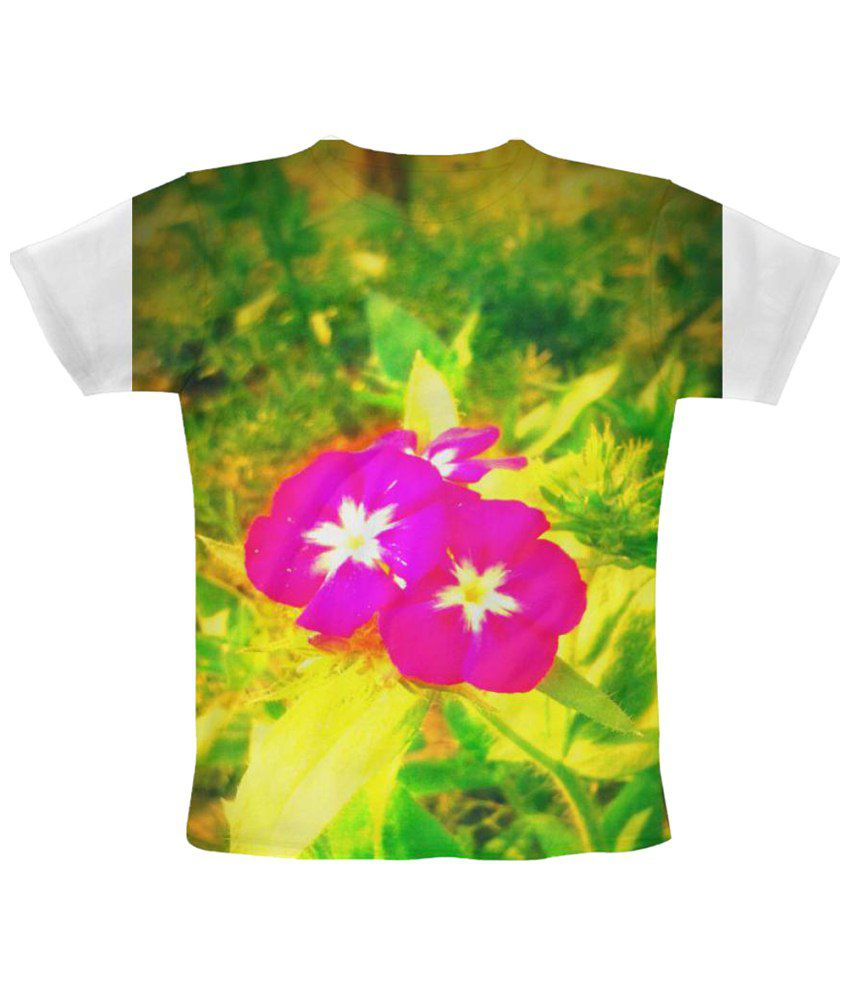 Freecultr Express Twin Flowers Graphic Green & Pink Half Sleeve T Shirt