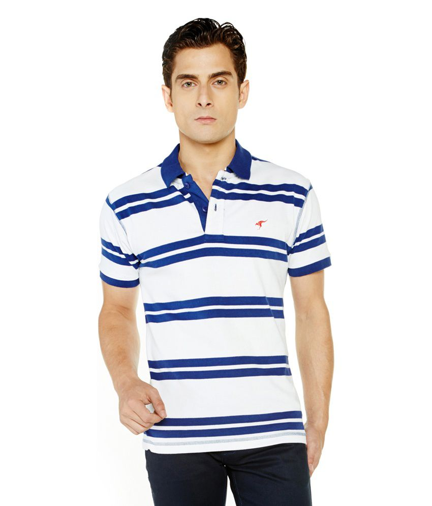 Globus striped blue and white t shirt for men buy globus for Blue and white shirt mens