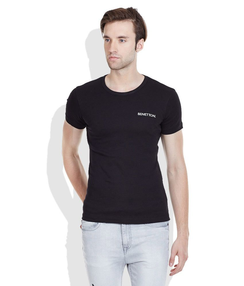 United Colors of Benetton Black Round Neck T-Shirt