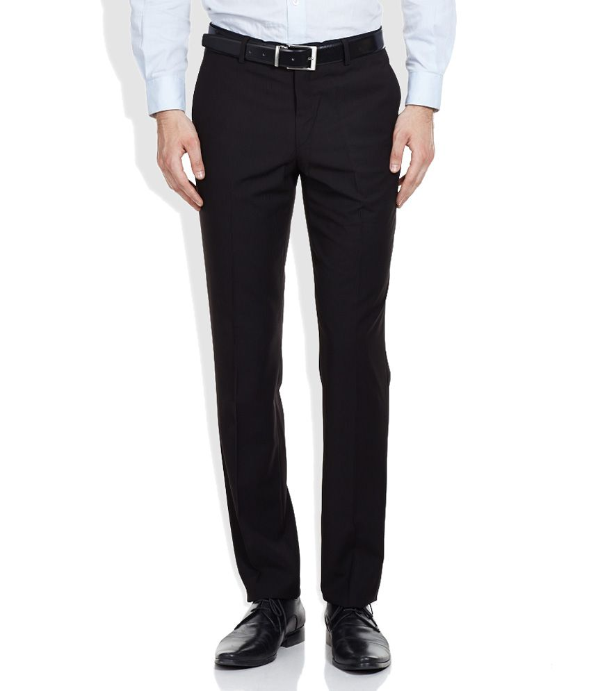 Wills Lifestyle Black Poly Viscose Formals Trousers