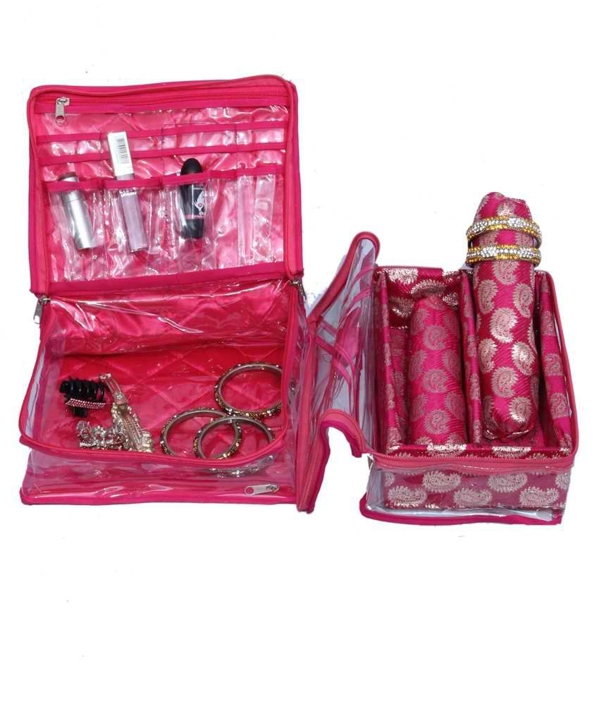 Kuber Industries Make Up Kit & 2 Rod Bangle Box In Brocade 2 Pcs Combo