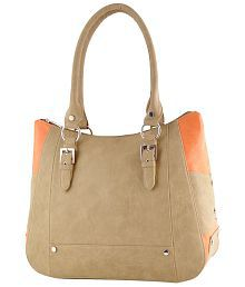 Butterflies Beige Faux Leather Shoulder Bag