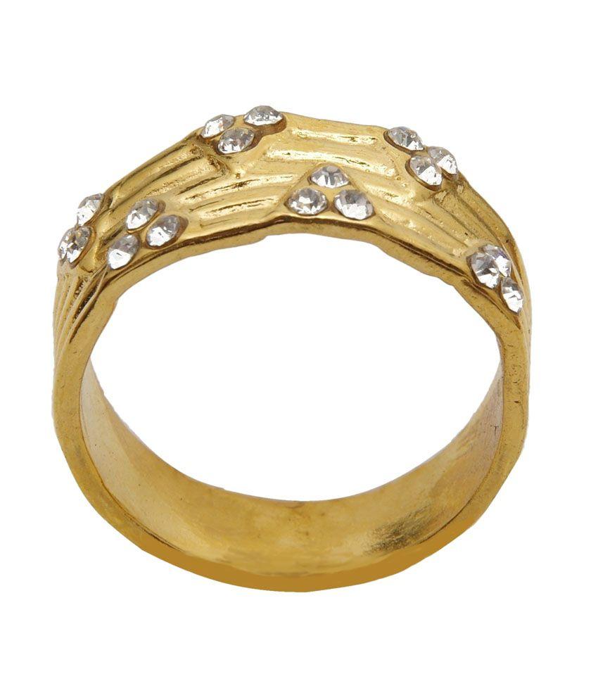Asha Ambe Ornaments Splendid Golden Alloy Ring