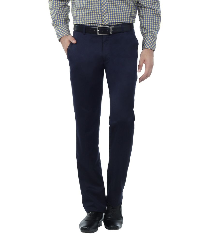 Hideouts Navy Flat Poly Viscose Polo Fit Trouser For Men