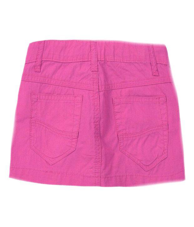 Jazz Solid Pink Cotton Skirt
