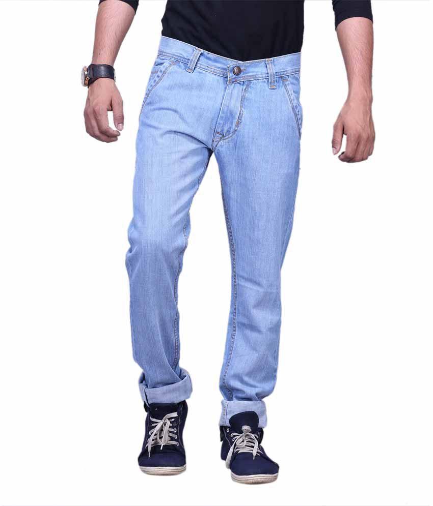X-Cross Blue Denim Regular Fit Jeans For Men