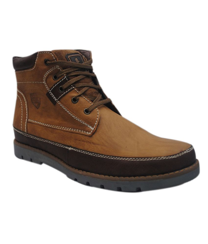 Zeppo Leather Style Tan Leather Designer Boots