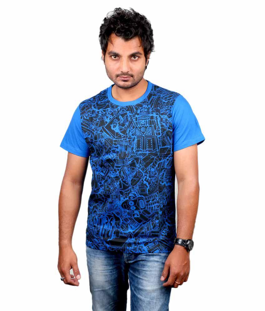 Ditto Blue Cotton Round Neck Printed Robots Mehandi T-Shirt