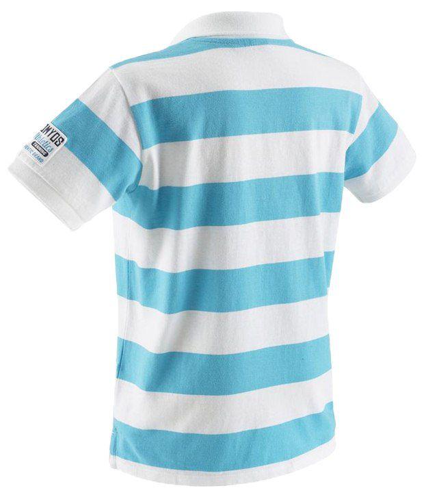Domyos Blue & White Striped Polo T Shirt For Boys