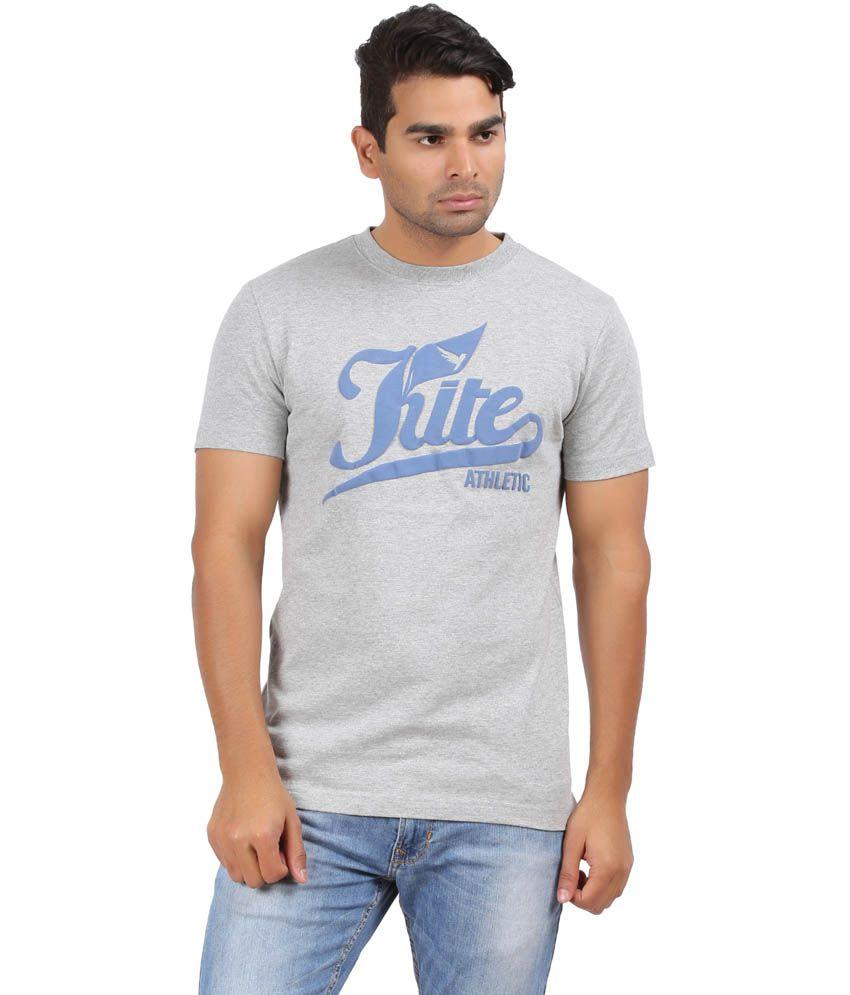 Kite Gray Cotton Round Neck T Shirt