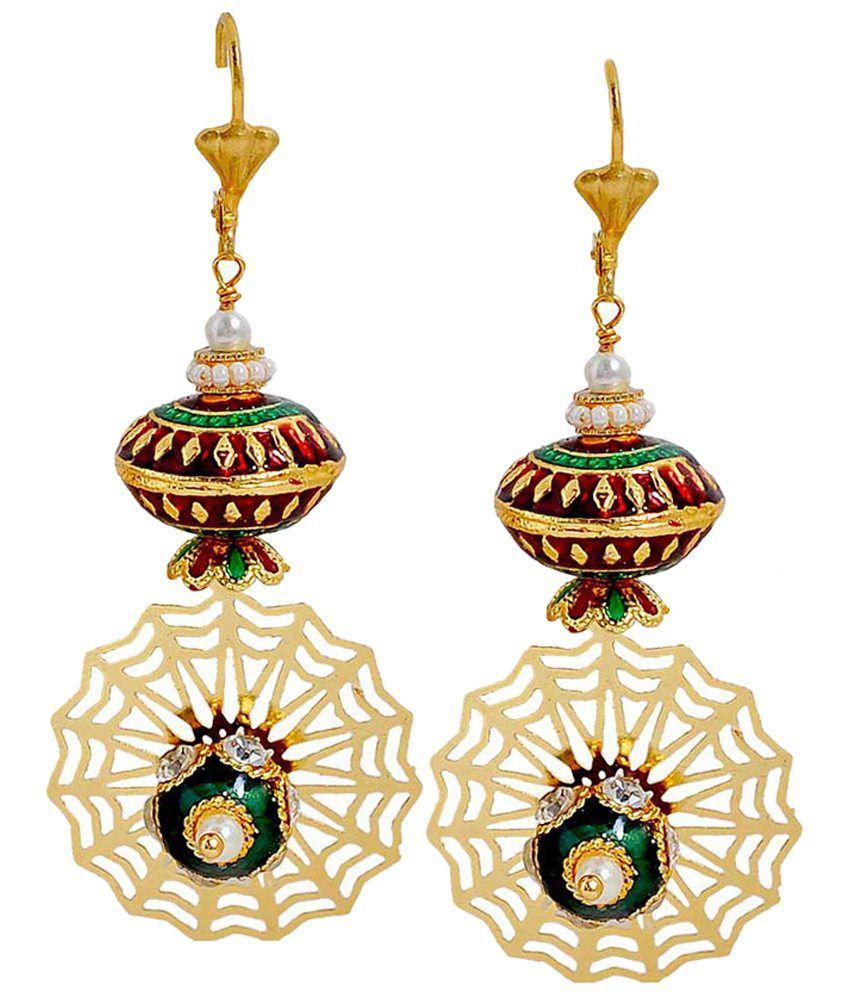 Maayra Maroon & Green Pearl Hanging Earrings