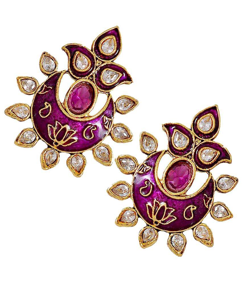 Maayra Purple & Golden Crystal Stud Earrings