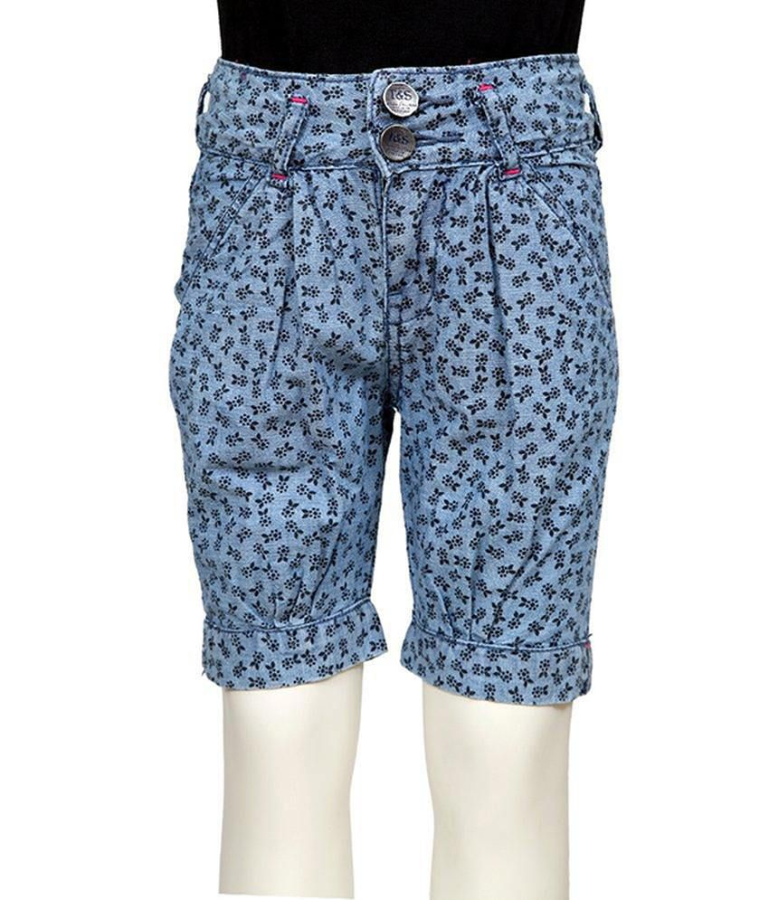 Tales & Stories Blue Printed Cotton Capris