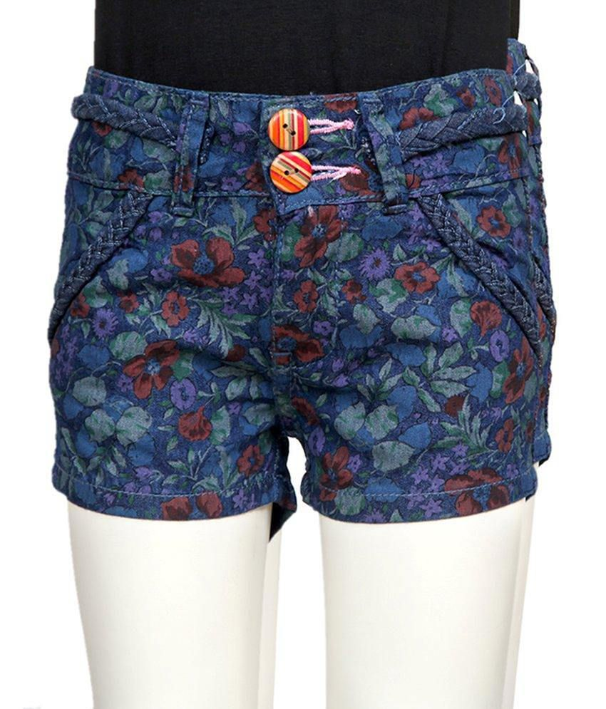 Tales & Stories Blue Printed Cotton Shorts