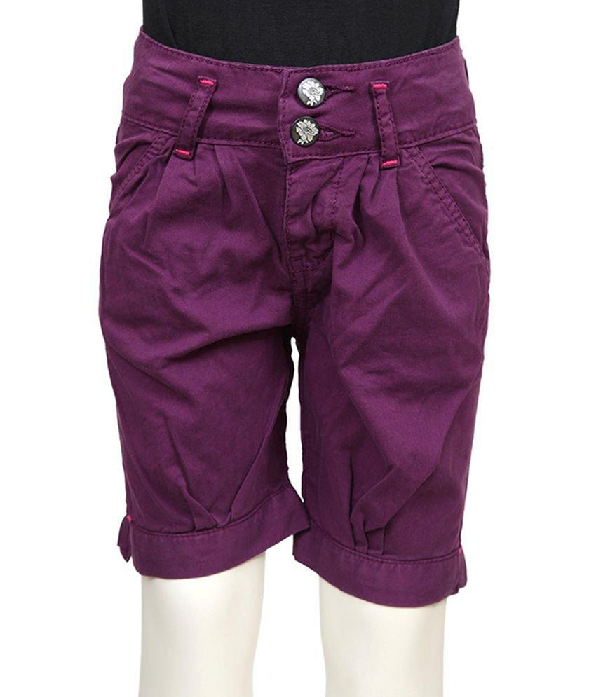 Tales & Stories Purple Solids Cotton Capris