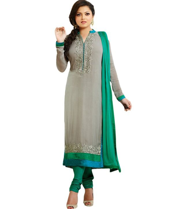 Zohraa Gray Faux Georgette Unstitched Dress Material